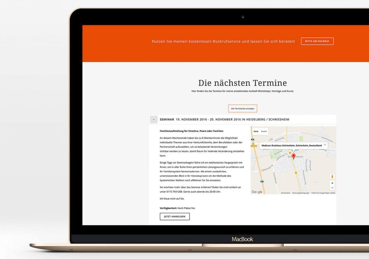 Terminbereich der Website von Kerstin Pramme
