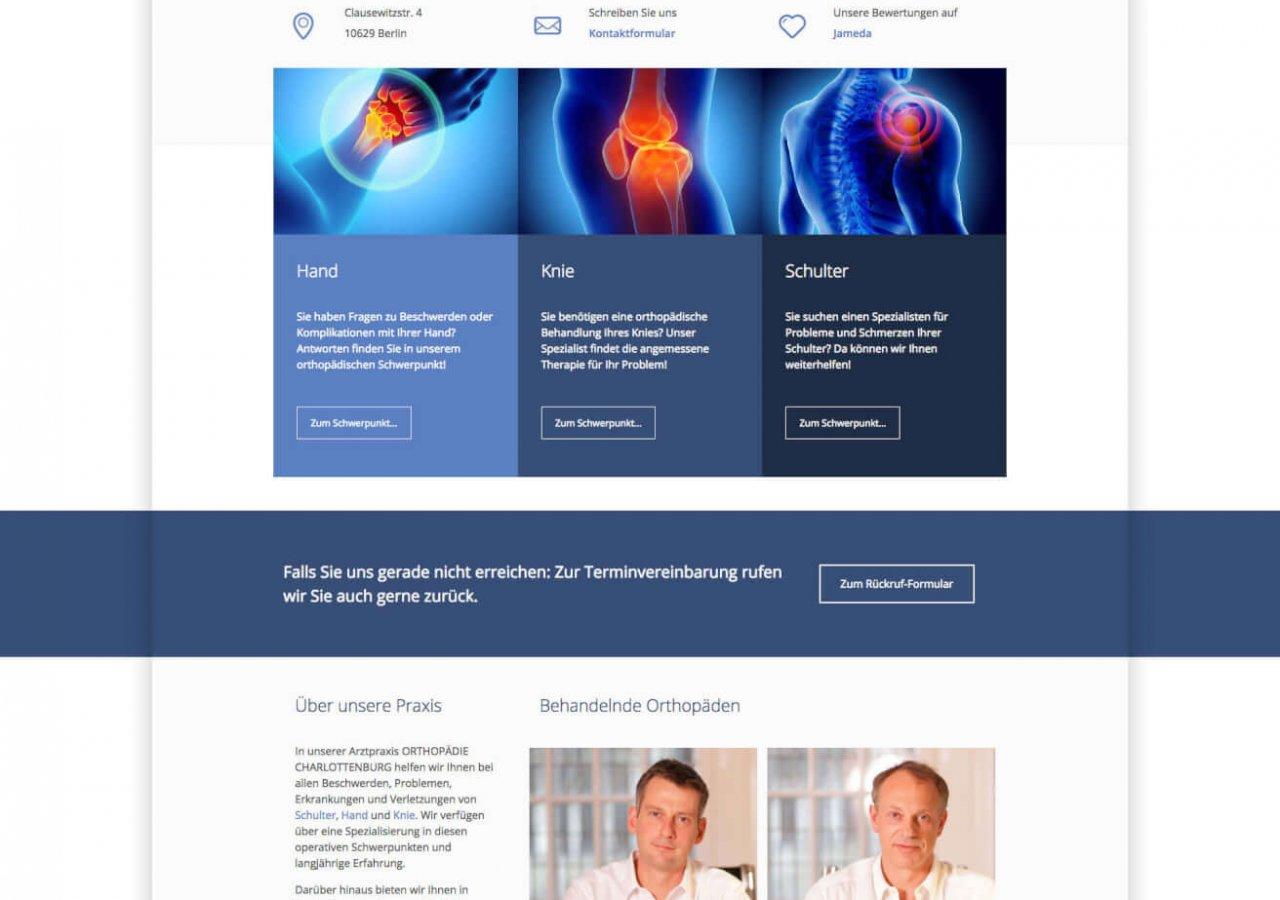Startseite der neuen Website der Praxis Orthopädie Charlottenburg
